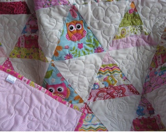 Handmade baby quilt modern triangle in owl prints of pinks and pastels