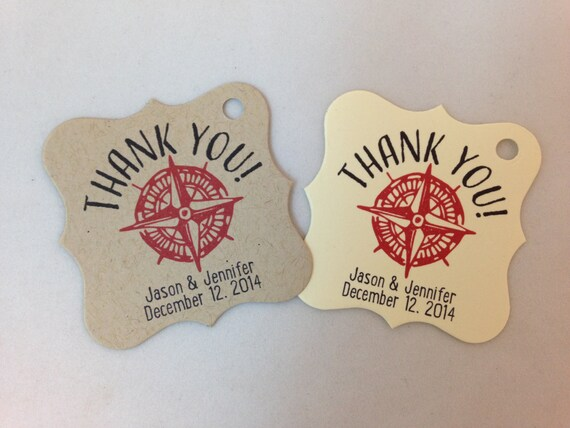 Wedding Gift Tags - Thank You - Compass - Nautical - Wedding Favor ...