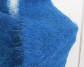 Shawl rich blue mohair wrap