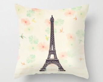 Pillow cver, french pillow, paris pillow, french decor, dorm decor, office decor, coral pillow, shabby chic decor, cottage,paris decor