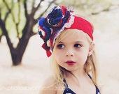Baby Headbands- Red White Blue Headband- Baby Girl Headband-Toddler Headband-Hair Bow