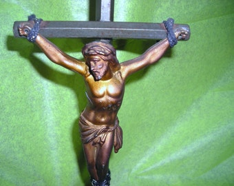 Vintage   Brass and Bronze Cross ...The Old Rugged Cross......Religious Items ...Christian Stand Up Crucifix