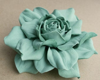 Soft green Leather Rose Flower Brooch