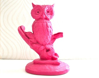 Owl Perched on Branch Animal Statue in hot pink:  nursery office library tabletop kids room decor home decor