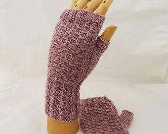 Fingerless Mittens in Lavander, Cable Mittens, Fingerless Wrist Warmer, Hanknitted Fingerless Mittens, UK Seller