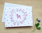 Pink Dala Horse and Cherry Blossom Notecard (Blank)