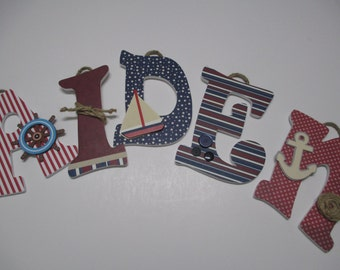 "AIDEN, AYDEN - 12.00 PER letter boy's name, 8-1/2"" to 9"" wooden nursery letters, nautical theme, sail boat, anchor, ship's wheel, buttons"