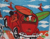 Vintage 70s VW Beetle Beach Towel Volkswagen Bug surfer scene surfboards Surf's up VW collectible so rare!