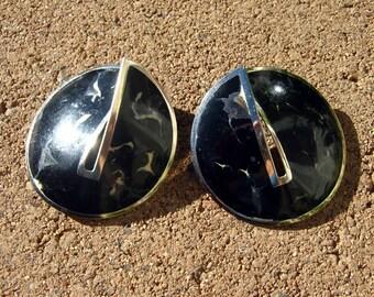 Edgar Berebi earrings, vintage black and white enamel silver tone round earrings, 80s