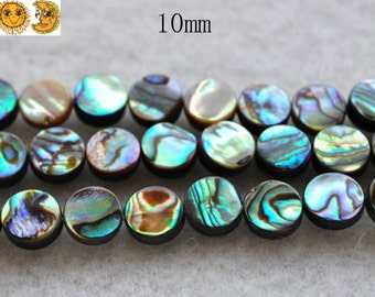 15 inch strand of Abalone shell smooth flat coin beads 10 mm
