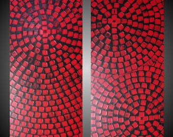 Red Squares 2 Paintings on large canvas Wall art deco Black Red Art abstract painting on canvas 48 x 48 Ready to Hang Made to Order