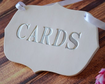 Silver Cards Sign for Wedding Card Box - Available in different colors