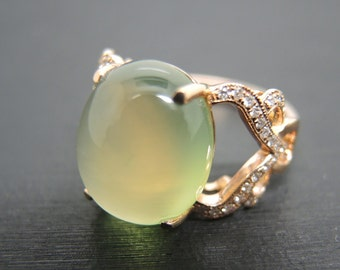 Engagement Ring -  8 Carat Prehnite Engagement Ring With Diamonds In 14K Rose Gold