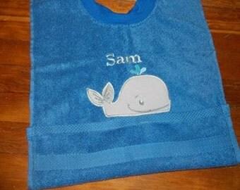 Whale Towel Bib, Personalized Bib, Nautical Bib, Nautical Dish Towel Bib, Toddler Bib, Whale Decor, Nautical Birthday, Nautical Baby Shower