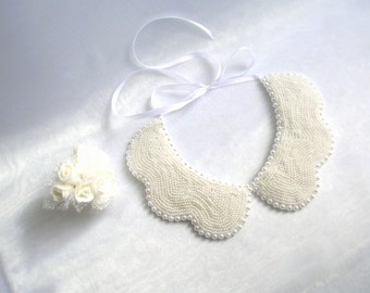 Wedding Pearl Necklace, Bridal Pearl Jewelry, Jewelry Embroidered, Collar Necklace, Peter Pan Collar, Nuray