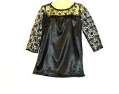 Black Top - Illusion Top - Lace Top - 1970s Top - Black Satin Top - Size 10 - Size 8 - By Rebeccas Clothes
