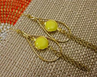 Yellow Faceted Brass Teardrop Earrings