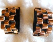 RESERVED Renoir Signed Basketweave Copper Earrings