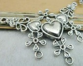 5PCS antique silver 46x64mm huge heart flower filigree charm connector with 5 holes- XC5544