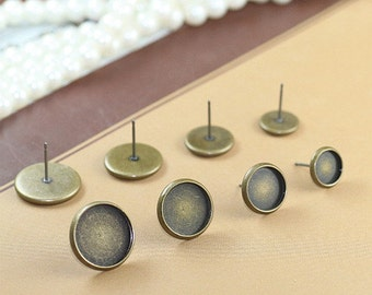 Antique bronze ear studs with round Bezel Cup Cabochon Mountings, 4 size available- 8mm/ 10mm/ 12mm/ 14mm- W06236