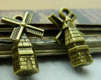 30PCS antique bronze 5x9x17mm windmill charm pendant- W5753