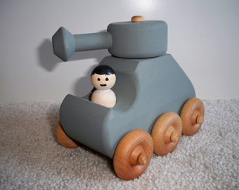 Wooden Toy Tank Painted Pewter Grey