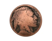 12 Indian Head 5/8 inch ( 15 mm ) Metal Buttons Antique Copper Color