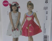 McCalls M6310, Sewing Pattern for Appliqued Toddlers and Girls Dress, Hat, Totebag , Uncut