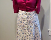 Vintage 1940's | Button Down Blue and Pink Cotton Skirt | Ribbons and Birds | Size XL | Plus Size