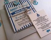 Nautical Theme - Baby Shower Invitation - CUSTOM - Ahoy - Sail - Anchor - Blue Stripes - Boy - Girl - BIRTHDAY - Recycled - Eco Friendly