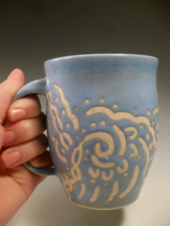Beautiful Periwinkle and Cream Porcelain Mug with swirls and twirls