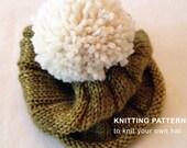 KNITTING PATTERN:  Perfect Pom Pom Baby Hat - baby hat DIY knitting pattern pdf file