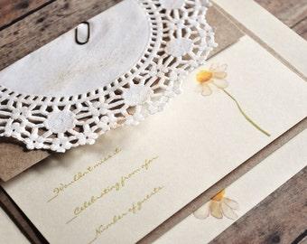 Daisy Wedding Invitations, Daisy Invitations, Rustic, Vintage Wedding Invitations, Lace invitations, Daisy Bridal Shower, Birthday Party