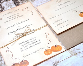 This is a custom listing for F. (30 Pumpkin Wedding Invitations Rustic Wedding Invitations)