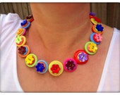 Flower, button necklace - statement necklace