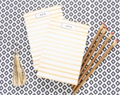 Gold Tone Signature Stripes Monogrammed Notepad