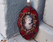 Spoon Jewelry, Mosaic Jewelry, Art Pendant, Cameo, Steampunk Cameo Mosaic Pendant