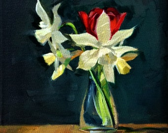 Oil Painting: Daffodils with a Red Tulip