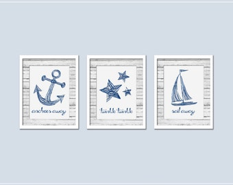 Navy and Gray Nautical Nursery Print Set of 3 - INSTANT DOWNLOAD