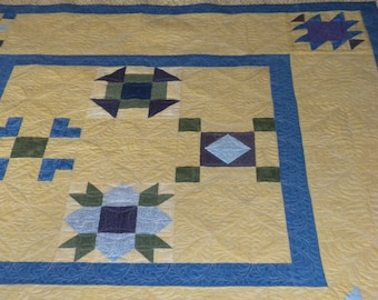 Yellow and Blue queen quilt