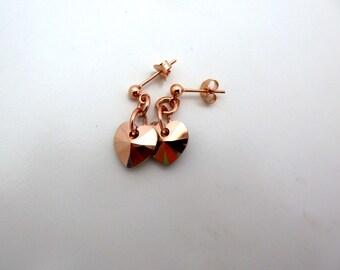Rose Gold Heart Earrings - handmade Swarovski crystal heart earrings