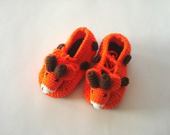 baby shoes, orange giraffe Baby Booties, animal baby shoes, crochet animal baby booties 0-12 month baby, crochet baby shoes baby shower gift