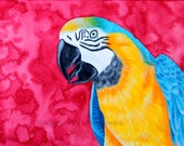 Blue And Gold Macaw Painting 8x10 Print 11x14 Print Bird painting Watercolor Print Blue and Yellow Parrot Painting Watercolor Bird Art Print