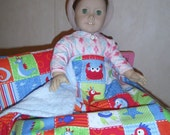 Fishy Print Blanket and Pillow for American Girl Doll or 18 inch Dolls