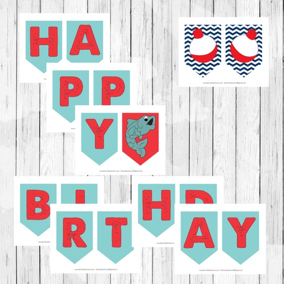 items similar to fishing theme party happy birthday banner pennant banner cing theme