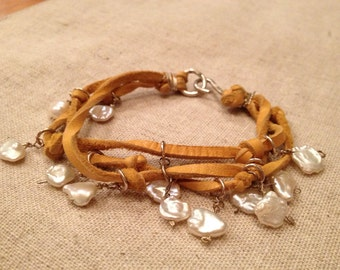 Golden Suede and Keishi Pearl Bracelet