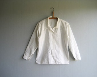 Vintage shirt blouse 70's 80's long sleeve woman blouse white size  M L blouse oversized secretary embroidered  blouse