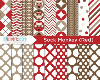 Digital Paper Sock Monkey (Red) - Instant Download