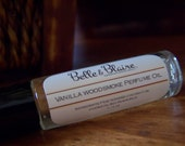 Vanilla Woodsmoke Perfume Oil- Burning Woods, French Vanilla, Soft Lavender- Roll On Perfume