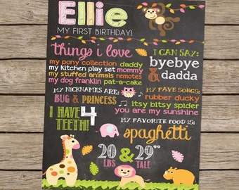 First Birthday Chalkboard Safari Zoo Animal Birthday Poster - PRINTED Safari Jungle Zoo Animal Monkey Party First Birthday Girl Party Sign